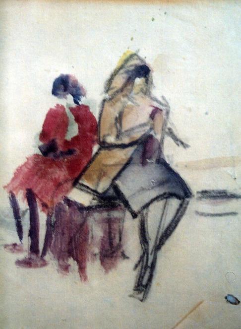 Βασίλης Σίμος. Μαθητικό σκίτσο , 1952 ,υδρόχρμα και σινική στο χαρτί , 20x10
