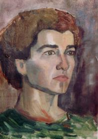 Βασίλης Σίμος. Προσωπογραφία , 1953 , λάδι σε χαρτόνι , 35x20