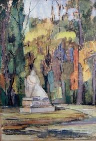Βασίλης Σίμος. Μαδρίτη Retiro 1959 λάδι σε χαρτόνι 35x25