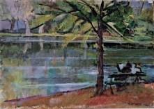Βασίλης Σίμος, 1959, Παγκάκι στο Ρετίρο, λάδι σε χαρτόνι, 35x50