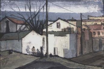 Βασίλης Σίμος, 1958, Άσπρος τοίχος, λάδι σε χαρτόνι, 35x50