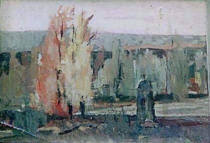 Βασίλης Σίμος ,1965, Τοπίο στη Φθιώτιδα, λάδι σε χαρτόνι, 40x60