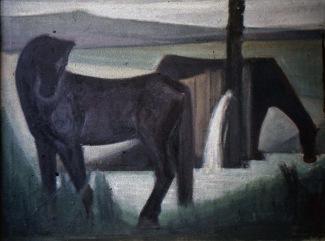 Βασίλης Σίμος 1966 Άλογα στην πηγή λάδι σε ξύλο 70/100