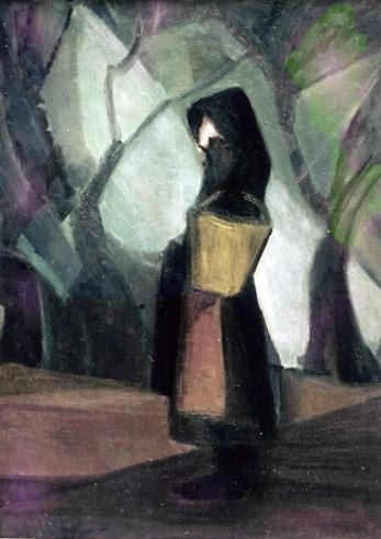 Βασίλης Σίμος 1966 Κορίτσι με καλάθι λάδι σε μουσαμά 70/50