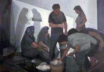 Βασίλης Σίμος , 1979, Λαϊκή αγορά , λάδι σε μουσαμά, 60x90