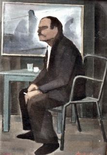 Βασίλης Σίμος , 1979 , Καφενείο , λάδι σε μουσαμά , 60x40