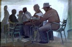Βασίλης Σίμος , 1979 , Καφενείο , λάδι σε μουσαμά , 70x100