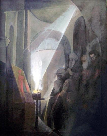 Βασίλης Σίμος Ικεσία 1983 Λάδι σε μουσαμα 100x70