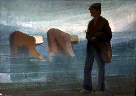 Βασίλης Σίμος Αφέντης 1983 Λάδι σε μουσαμα 50x70