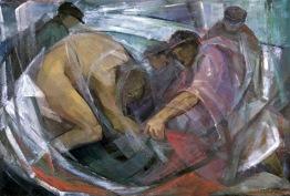 Βασίλης Σίμος ,Ψαράδες Λάδι σε μουσαμά 100x75
