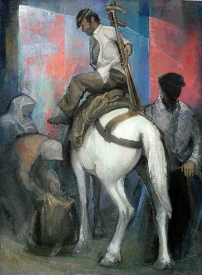 Βασίλης Σίμος ,Κατοιγίδα Λάδι σε μουσαμά 75x100