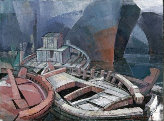 Βασίλης Σίμος , 1992 ,Σπασμένη βάρκα λάδι σε σε μουσαμά , 50x70