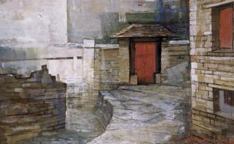 Βασίλης Σίμος , 1993 ,Μονοδέντρι ,τέμπερα σε χαρτί , 35x50