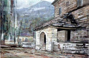 Bασίλης Σίμος,, 1993 , Παπιγκο , είσοδος Εκκλησίας, μικτή τεχνική σε χαρτί ,35x50