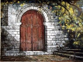 Βασίλης Σίμος , 1993, Αυλόπορτα, λάδι σε μουσαμά, 35x50