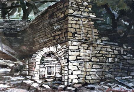 Βασίλης Σίμος , 1994, Βυζίτσα χαλάσματα , μικτή τεχνική σε χαρτί, 33x46