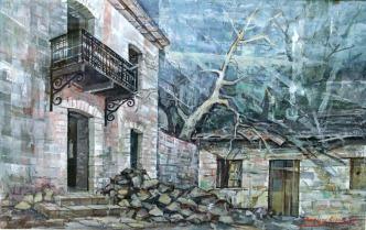 Βασίλης Σίμος , 1994 , Αρχοντικό στη Τσαγκαράδα μικτή τεχνική , σε χαρτί, 35x55