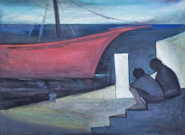 Βασίλης Σίμος , 1966 , Λιμάνι , λάδι σε μουσαμά