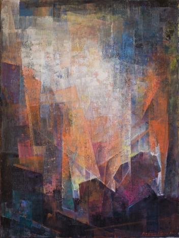 Βασίλης Σίμος , 2012 , Απειλή , ακρυλικό σε μουσαμά , 100x75