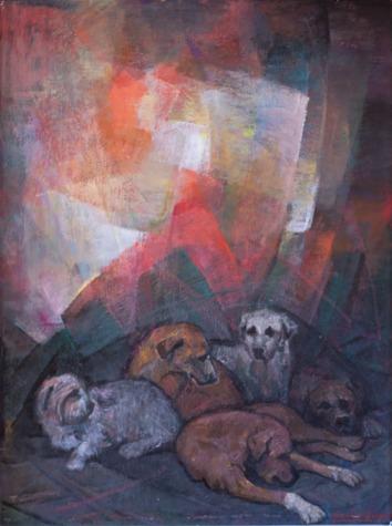 Βασίλης Σίμος , 2008 , Σύναξη ,ακρυλικό σε μουσαμά ,100x75