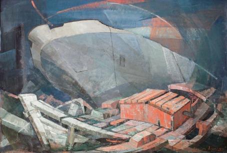 Βασίλης Σίμος , 1991, Ναυάγια , λάδι σε μουσαμά