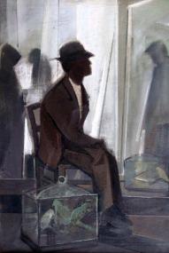 Βασίλης Σίμος , Αναποφάσιστος , 1979, λάδι σε μουσαμά 70x50