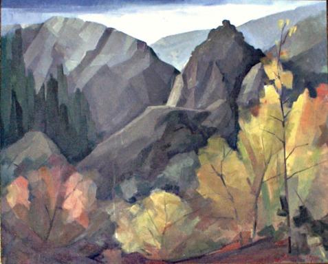 Βασίλης Σίμος , 1989 , Φθινόπωρο στον Προυσσό, λάδι σε μουσαμά, 70x90