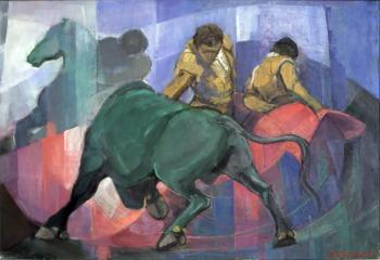 Βασίλης Σίμος , Αιφνιδιασμός , 1995 , λάδι σε μουσαμά 75x100