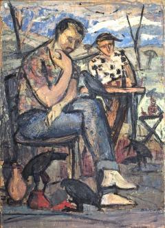 Βασίλης Σίμος , Σύνθεση , 1959 , λάδι σε χαρτόνι ,50x35