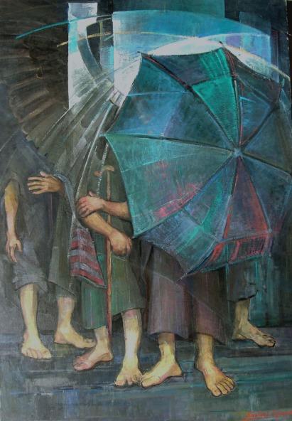 Βασίλης Σίμος , 2005 , Φυγή , ακρυλικό σε μουσαμά ,130x70