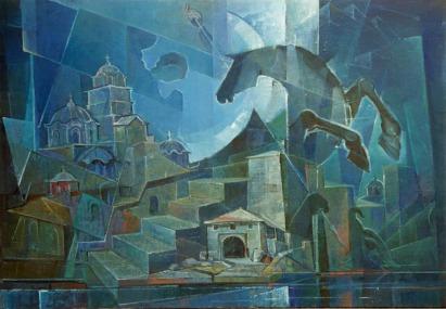 Βασίλης Σίμος ,2000 , ΑγιονΌρος. Σύνθεση , λάδι σε μουσαμά 75x100