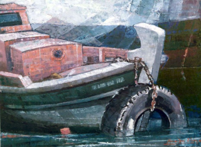Βασίλης Σίμος , 1990 , Βάρκα με ρόδα , λάδι σε μουσαμά ,60x90