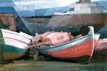 Βασίλης Σίμος , 1990 , Λιμάνι , λάδι σε μουσαμά , 60x90