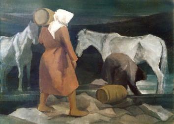 Βασίλης Σίμος , Στις πηγές ,1985 , λάδι σε μουσαμά, 75x100