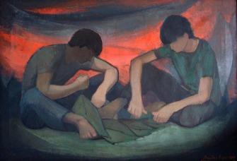 Βασίλης Σίμος ,1984, Παιδιά στην κόκκινη δύση , λάδι σε μουσαμά, 70x100