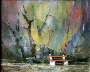 Βασίλης Σίμος , 1984 , Παγκάκι λάδι σε μουσαμά 35x50