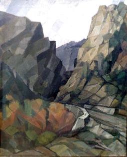 Βασίλης Σίμος , 1989 , Πέρασμα στον Προυσσό , λάδι σε μουσαμά, 90x60