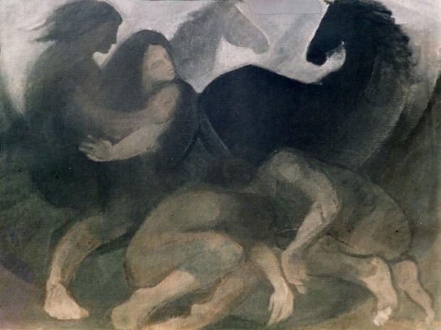 Βασίλης Σίμος , Καταιγίδα , 1984 λάδι σε μουσαμά 60x90