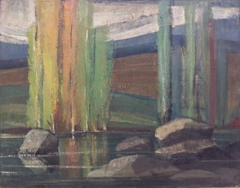 Βασίλης Σίμος , 1974 , Ποτάμι , λάδι σε μουσαμά ,60x90