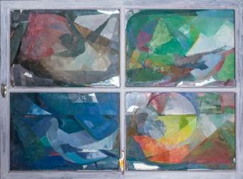 Βασίλης Σίμος , Παράθυρο,1990, λάδι σε μουσαμά ,81x115