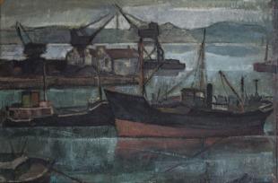 Βασίλης Σίμος , Λιμάνι στον Ατλαντικό, Χιχόν, 1959, λάδι σε χαρτόνι 35x50