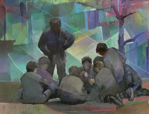 Βασίλης Σίμος , 2005 , Συνομωσία , ακρυλικό σε μουσαμά 60x90