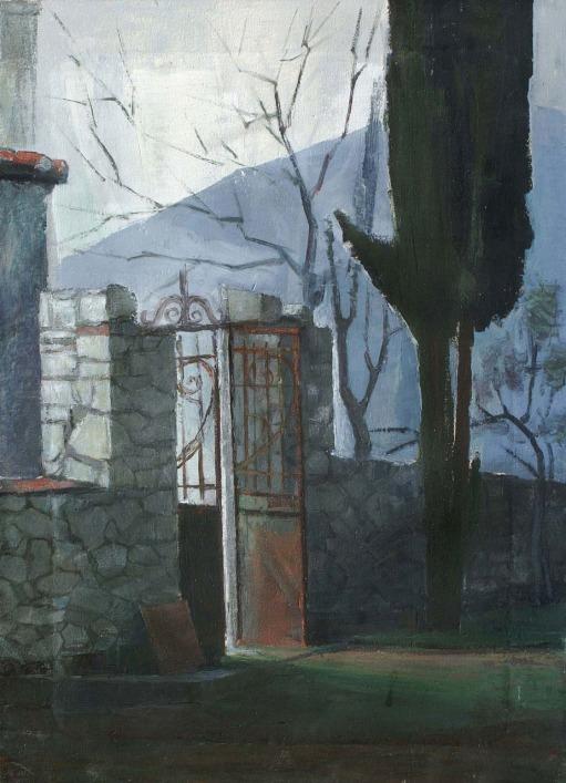Βασίλης Σίμος , 1984 , Αυλόπορτα με κυπαρίσι , λάδι σε μουσαμά ,50x35
