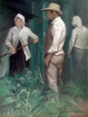 Βασίλης Σίμος , 1985, Καπνά, λ'αδι σε μουσαμά , 100x75