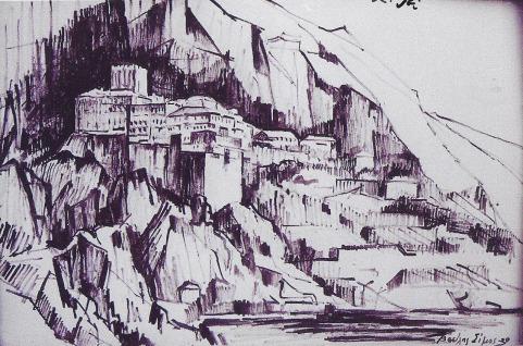 Βασίλης Σίμος ,2001, Άγιον Όρος, άποψη, σινική μελάνη, 35x50