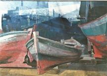 Βασίλης Σίμος,1990 , Λιμάνι ,ακρυλικό σε μουσαμά,