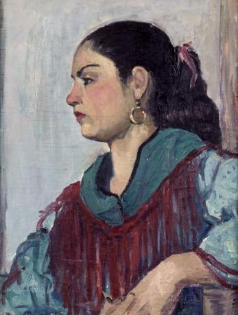 Βασίλης Σίμος, 1956 ,Πορτραίτο Τσιγκάνας,, λάδι σε μουσαμά, 54x42