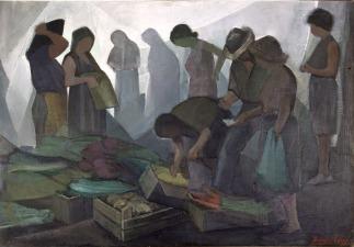 Βασίλης Σίμος , Λαϊκή Αγορά, 1979. λάδι σε μουσαμά, 90x130