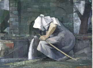 Βασίλης Σίμος , Γονατιστή γυναίκα , 1986 , λάδι σε μουσαμά , 75x100