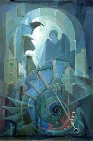 Βασίλης Σίμος , 2000, Τετράμορφο, λάδι σε μουσαμά , 130x90
